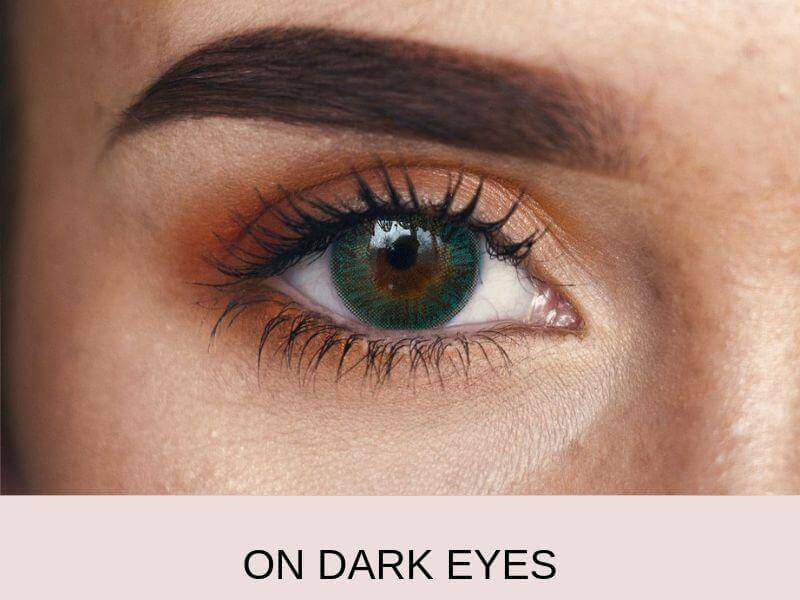On dark eyes forest green colored contact lenses 2   Elegant Optic