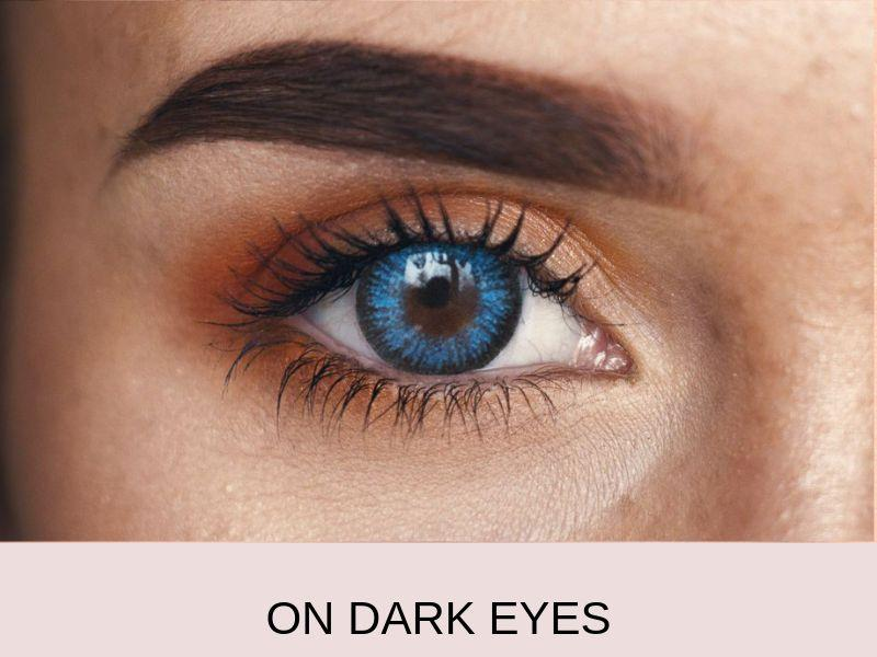 On dark eyes royal blue colored contact lenses 2 | Elegant Optic
